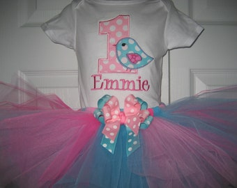 Baby girl aqua and pink Bird Birthday tutu set, First Birhtday tutu set, Bird outfit, cake smash