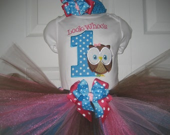 Boutique look whoo's one owl tutu set