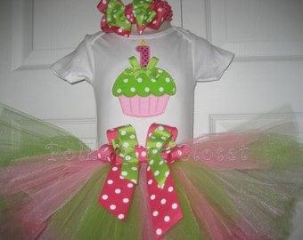 Baby Girl cupcake tutu set, pink and green tutu set, personalized tutu set