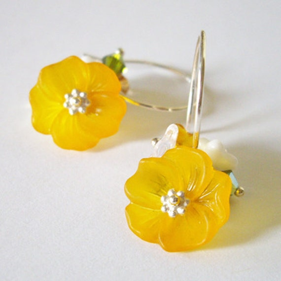 Ilima Beauty - Earrings / Sterling Silver, Swarovski Crystal, Czech Flower, Ilima Flower, Hibiscus, Yellow, Gold, Orange, Hawaii