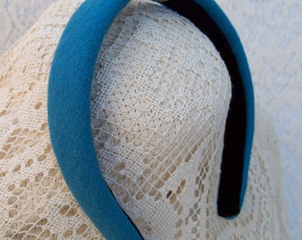 Aqua Blue Headband Winter Wool