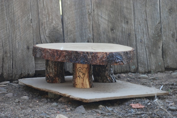 "20"" Rustic Wood Tree Slice Wedding Cake Pedestal or Cupcake Stand for your Event and Party or even a Newborn Photo Prop"