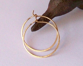 Gold Hoop Earrings - Hammered or Smooth - Gold Hoop Earrings - Extra Small .875 Inch Hammered - Rose or Yellow Gold and Sterling Silver