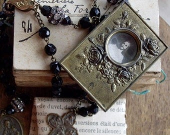 Antique Assemblage Necklace Miniature Antique French Religious Brass Frame