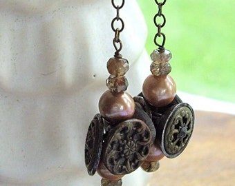 Vintage Assemblage Dangle Earrings Buttons Pearls Andulasite Shades of Brown