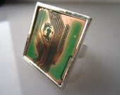 So Square Upcycled Circuit Board Ring