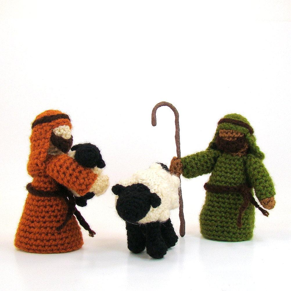 Shepherd Knitting Patterns Free : Items similar to Crochet Nativity Set Shepherd and Sheep Christmas Toy Croche...