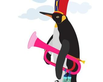 Penguin art print  - Bugle Boy - Penguin art,Musical print,Rock and Roll art print,Music art print,Musician Gift,bird art print,bird artwork