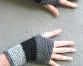 men's wool fingerless gloves/ stormy gray crochet - bigalhats