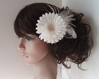 Wedding Hair Accessories Bridal Hair Flower Ivory Clip Comb fascinators reception - READY TO SHIP