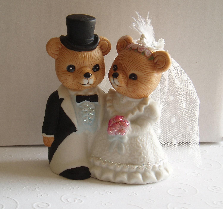 Wedding Cake Topper Teddy Bear BRIDE GROOM STATUE bridal