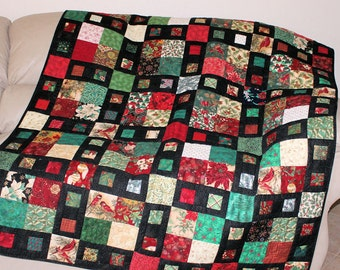 Quilted Christmas Throw, Cardinals and Poinsettias Lap Quilt, Red, Green, Black blanket, Winter Patchwork Throw