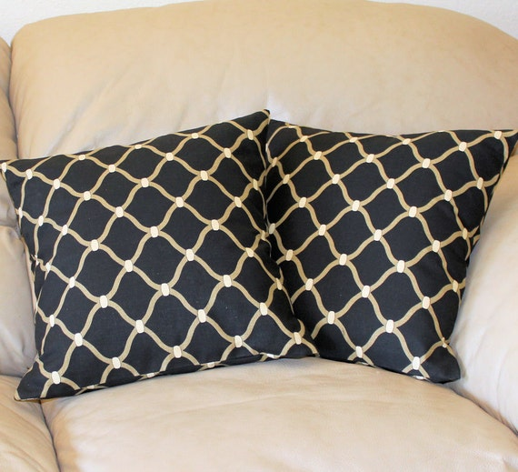 SET of TWO Decorator Throw Pillow Covers - 16 inch Geometric Mill Creek in Black and Taupe - Last Two Cover in this Fabric