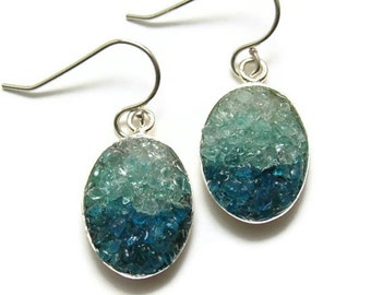 Mosaic Jewelry - Aquamarine and Apatite Earrings - Custom Order