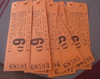 10 x Vintage Peach NSW Australia Bus Tickets Australia for Altered Arts Mixed Media Collage Destash