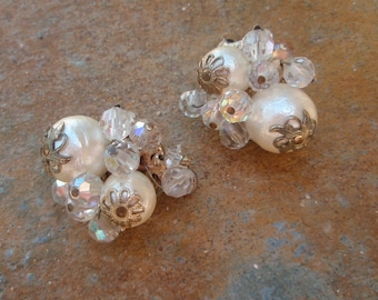 Vendome Signed Vintage Pearl and Rhinestone Clip Earrings