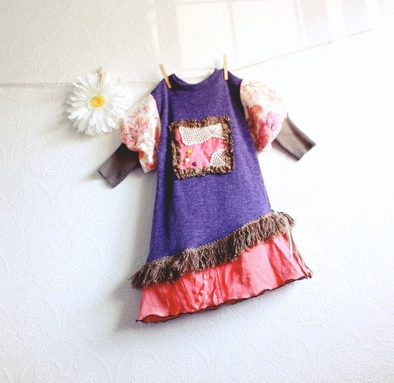 Girl's Purple Dress 5 - 6 Bohemian Clothing Coral Paisley Children's Clothes Hippie Style Eco Friendly Kid's Wear Black Friday Etsy