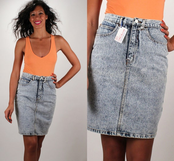 Vintage High Waist Denim / Acid Washed / Pencil Skirt / Jordache Jeans