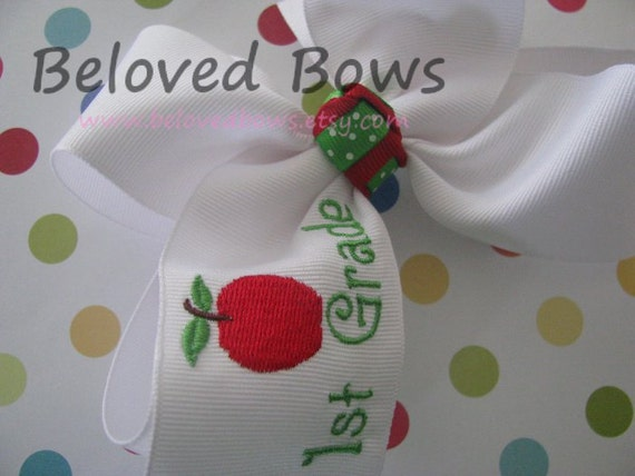 Embroidered Back To School Large Hair Bow 1st Grade
