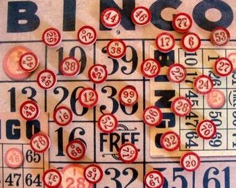 One Dozen Antique Mixed wooden Bingo markers