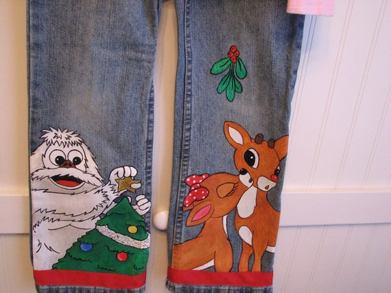 Custom clothing Christmas Painted jeans,Rudolph the Red Nosed Raindeer sizes 12 - 24 m, 2T/2 - 12