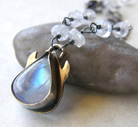 Moonstone Metalwork Necklace, Flower Necklace, White Ivory Necklace, Bridal Necklace