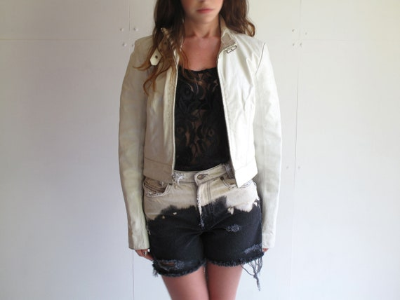 Cropped White Leather Motorcycle Jacket Small