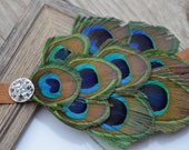 peacock feather headband, brown elastic, peacock headbands, adult headbands, headband, photography prop, Halloween