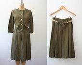 1950s linen dress / 50s linen suit / Artemesia Suit
