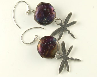 sterling silver dragonfly earrings, purple round glass bead and dragonfly earrings
