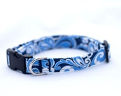 Dog Collar Blue Swirls