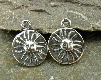 Tiny Sun Disk - Rustic Artisan Sterling Silver Disk Charms - One Pair - ctsd