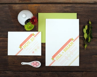 Simple Graphic Wedding Invitations - Diagonal Script Slanted Angled Pink Invite