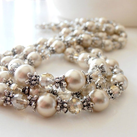 Bridal Necklace Wedding Jewelry Beige Pearl Champagne Crystal Antiqued Silver Beaded Multistrand Necklace Bridal Jewelry Pearl Necklace