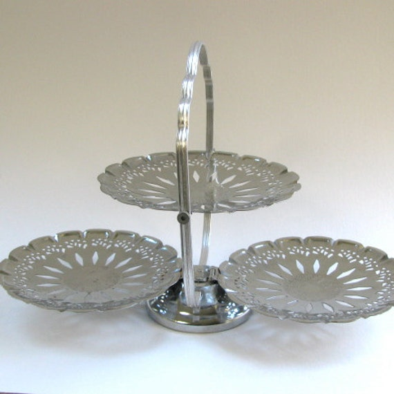 Vintage Fold Up Three Tiered Serving Tray, Silvertone, Hostess, Serving, Party Tray