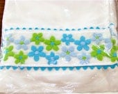 Vintage Curtain Valance - Blue and Green Daisies with Ric-Rac, Original Packaging