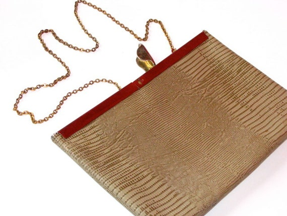 20buckSALE - Vintage Clutch Envelope Purse - Leather Reptile Skin Tan Cream Beige with Gold Clasp and Chain Crossbody Shoulder Strap
