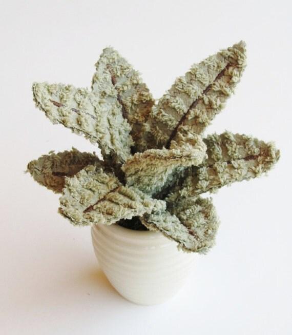 Fabric Leaf Potted Plant - Fern Green Chenille Aloe Vera Succulent