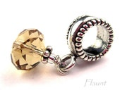 November Charm Sterling Silver European Bracelets Topaz Crystal Birthstone Brown Dangle