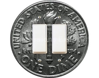 Dime Coin Decora Double Rocker Switch Plate Cover