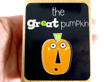 SALE was 3.99 - Halloween - The Great Pumpkin - Rubber Stamp, Gift Tags, Party Favors, School, Invitations, Kids Crafts, Greeting Cards