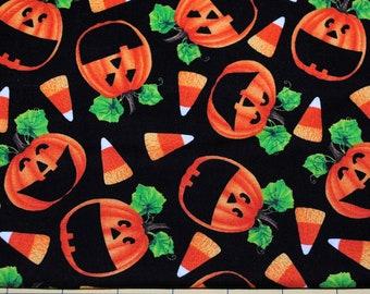 Fat Quarter Cheery Bright Halloween Jack-O-Lanterns Candy Corn Fabric