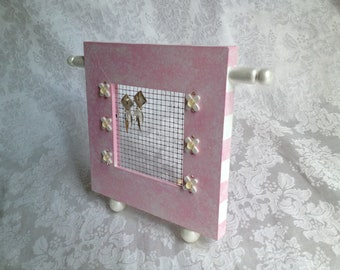 Standing Jewelry Screen Frame, Hand Painted Pastel Pink and White