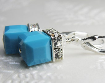 Turquoise Cube Earrings, Teal Swarovski Crystal, Sterling Silver, Short Dangle Drop, Wedding Jewelry December Birthstone Birthday Gift