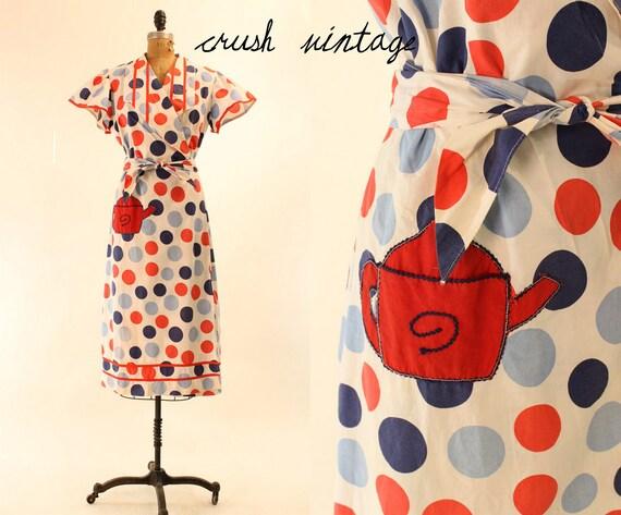 50's Dress M-L  / Teapot Polka Dot Cotton Wrap Dress