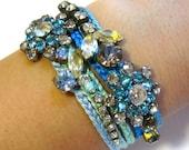 pair of rhinestone friendship bracelets - blue