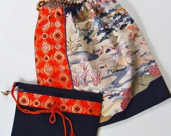 Hand Paint Yuzen- Vintage Japanese Kimono Recycled Tote Bag