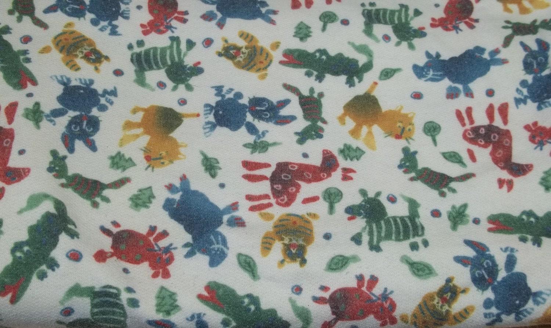 Vintage primitive animal fleece fabric children kids boys for Childrens animal fabric