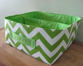 "NEW Fabric Storage Basket - Fabric organizer storage bin basket tote - 12"" x 12"" - Perfect for your home - Green  ZigZag"