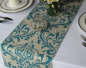 Traditions Turquoise Blue and Taupe Damask Wedding Table Runner